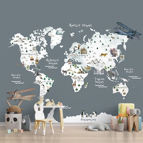 World map wallpaper with monuments and animals