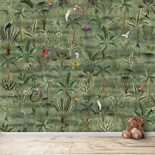 Forest theme, beautiful birds and animals, wall covering for kids room