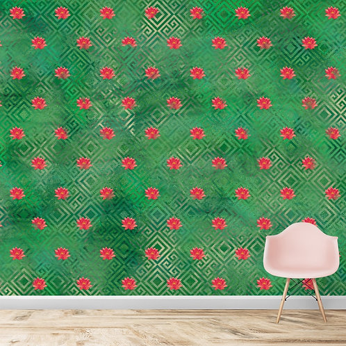 Abstract lotus repeat pattern, wallpaper for bedrooms and living rooms