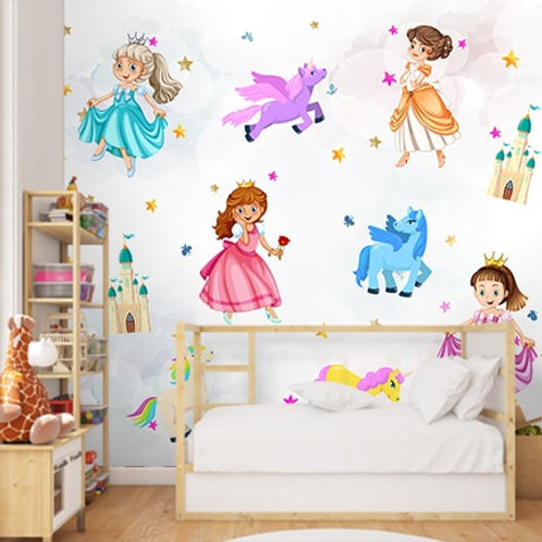 Cute princess wallpaper for kids room