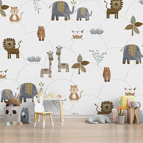 Water paint look animal theme wall mural for walls