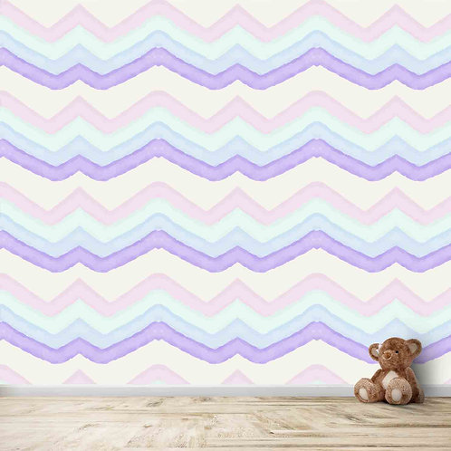 Water painted look chevron wallpaper