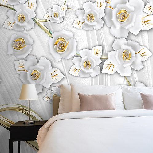 3D White and Golden Flower Tree Wallpaper Design