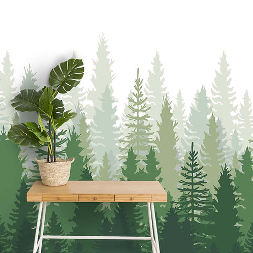 Green Peaceful Forest, Silhouette Design Wallpaper