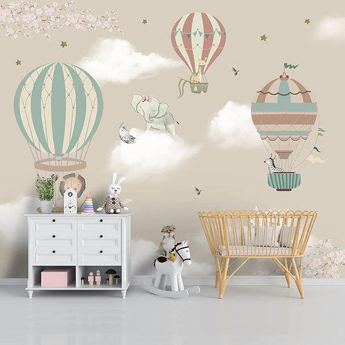 Wallpaper with hot air balloons and animals for kids room