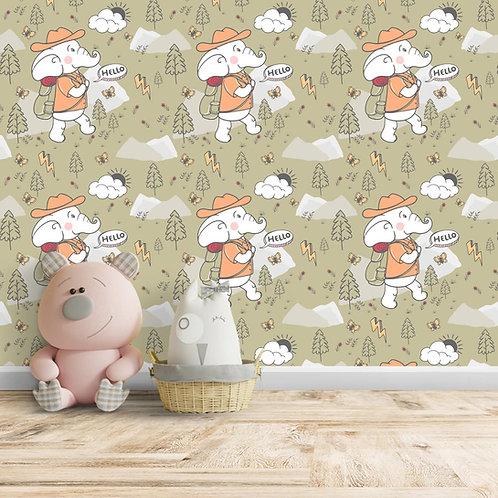 Elephant Repeat Design, Customised Wallpaper for Kids Room