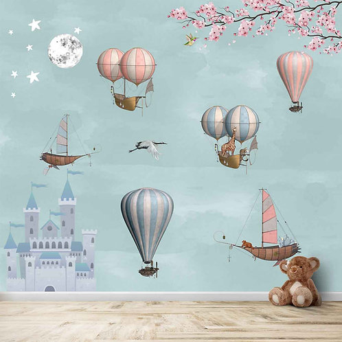 Flying animals on ships and hot air balloons, best wall mural for kids room