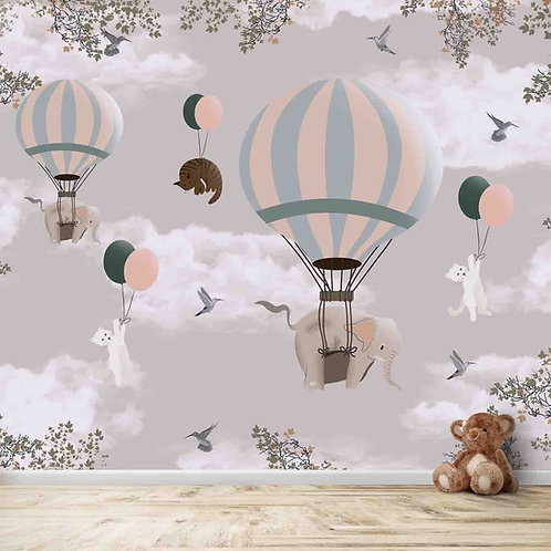 Flying animals on hot air balloons, wallpaper for kids room