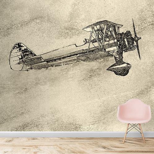 Vintage Sketch Look Glider Design Wallpaper