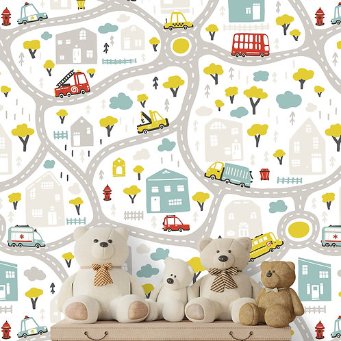 Road Transport Design, Customised Wall Paper for Kids Room