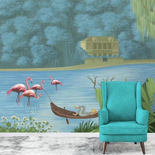Hand painted lake side scene, wall mural