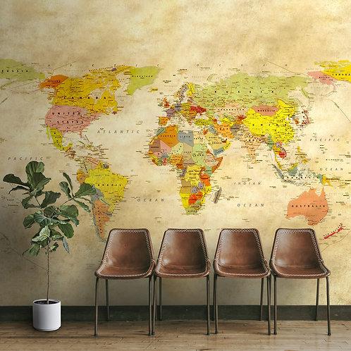 Beige Yellow Vintage World Map