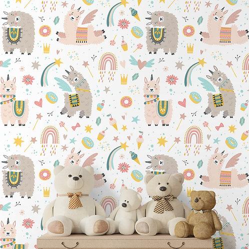Llamacorn and Rainbows Girls Wallpaper, Customised