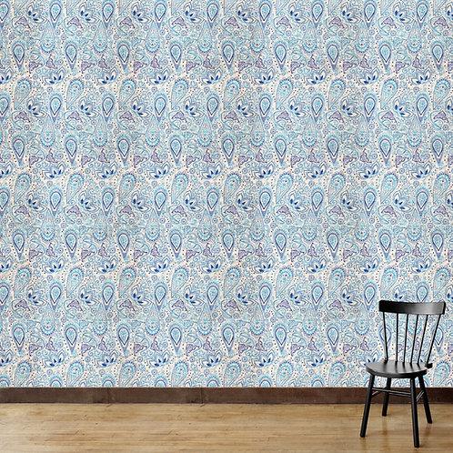Blue Paisley Themed Wallpaper