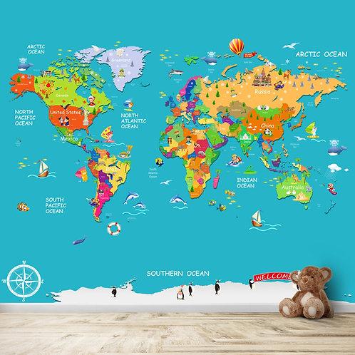 Blue Political World Map Kids Room