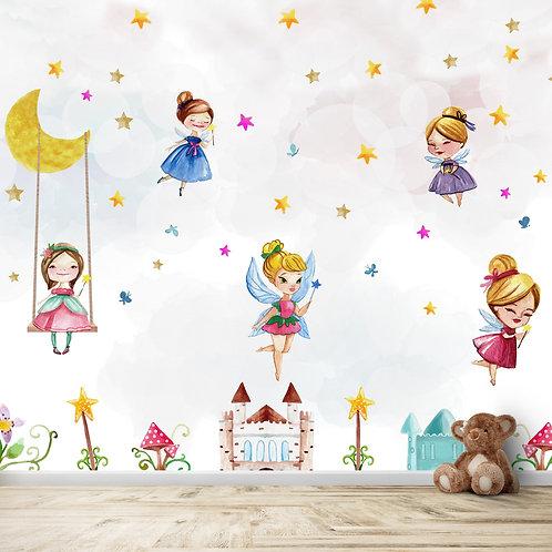 Fairies wall mural, wallpaper theme for kids room
