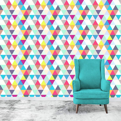 Colourful 3D look geometric wallpaper