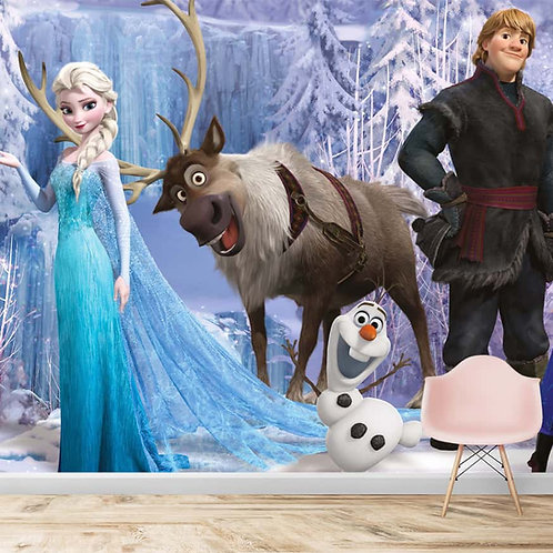 Frozen movie characters, wallpaper for kids room