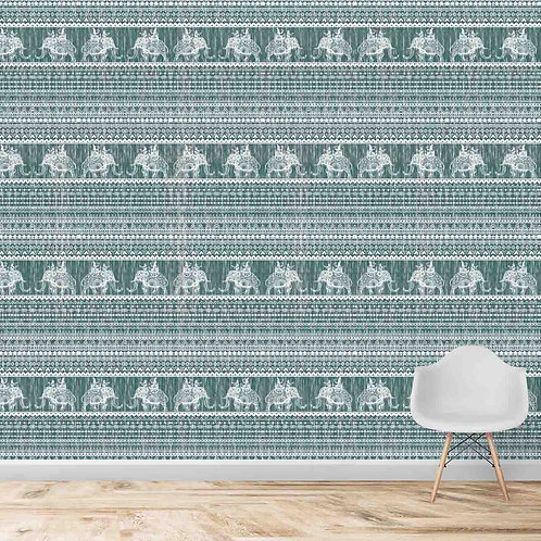 Green Fabric Look with Elephants Indian Wallpaper