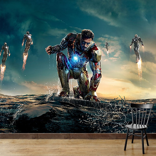 Iron man wall mural for kids room