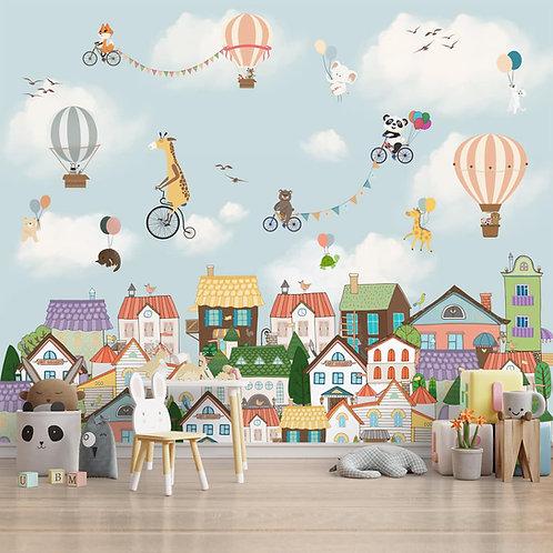 Cute Animals Flying Nursery Wallpaper