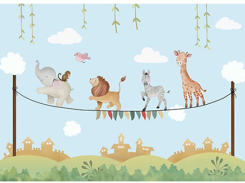 Marching animals on rope theme for kids room