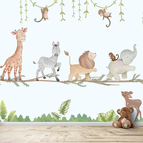 Marching Animals on branches theme for Kids room