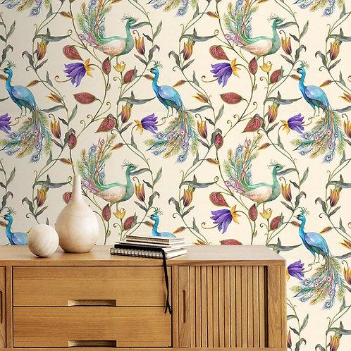 Water Paint Look Customised Peacock Wallpaper