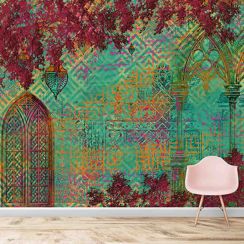 Quirky Abstract Mughal Themed Wallpaper
