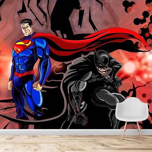 Superman and batman hand painted wallpaper