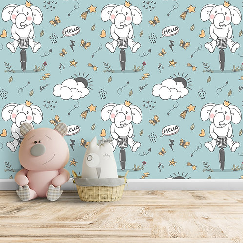 Elephant Cycling Repeat Pattern Wallpaper, Customised Wall Paper for Walls