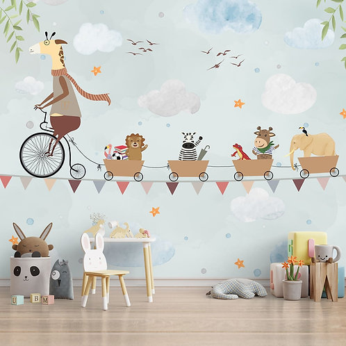 Animal train theme wall mural