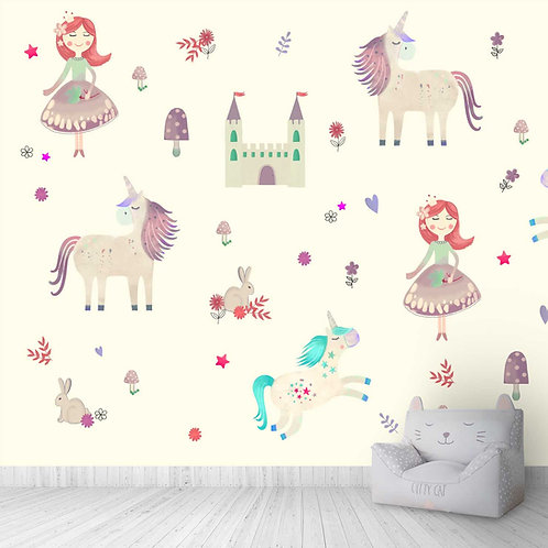 Unicorns and Castle Cute design theme for kids room