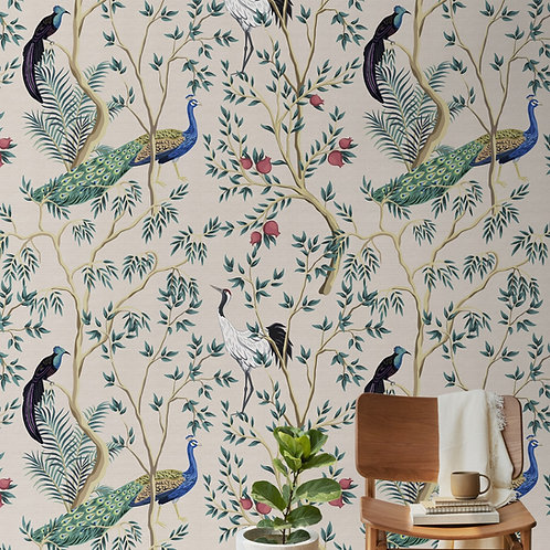 Peacocks and Branches, Floral Wallpaper,  Customised Designs