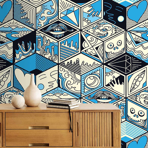 Abstract Cubical Pattern Art Form Wallpaper, Blue