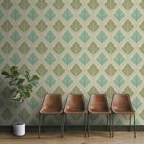 Green Leaves Damask Pattern