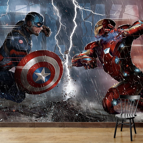 Iron man and captain america, fight scene, wall mural for kids room