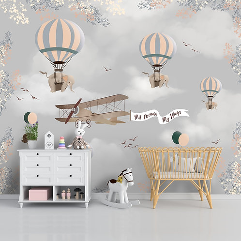 Elephants and plane theme wallpaper for kids room