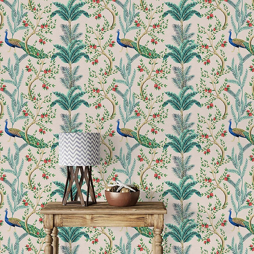 Floral Repeat Pattern with peacocks for Walls