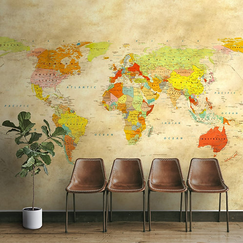 Vintage look world map wallpaper