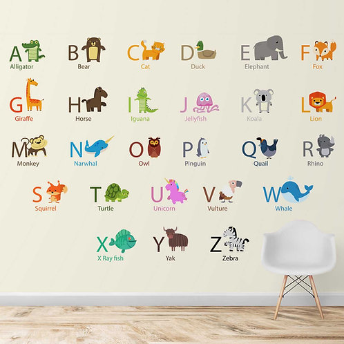 Alphabets with Animals Design for Kids room