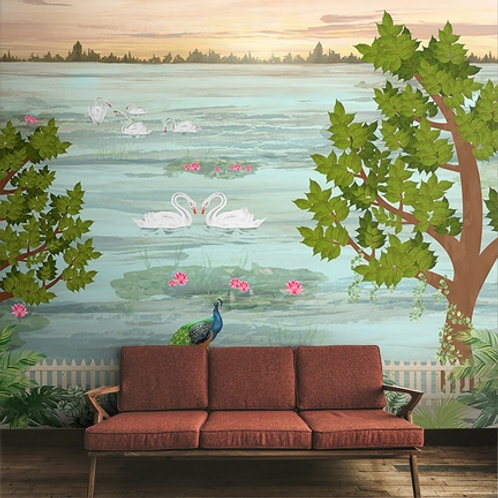 Beautiful landscape with swan & peacock wallpaper for all rooms