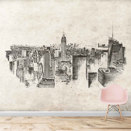 New York city scape, wall mural for kids room