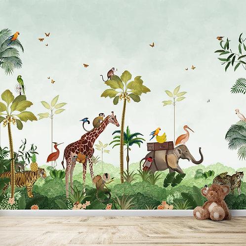 Cute animal safari wallpaper for kids