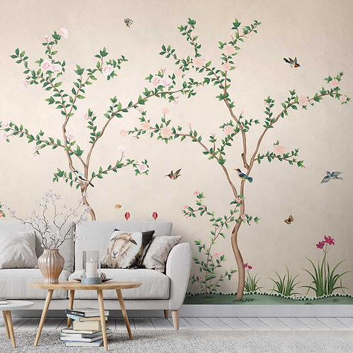 Chinoiserie Pattern Wallpaper, Birds and Branches, Customised