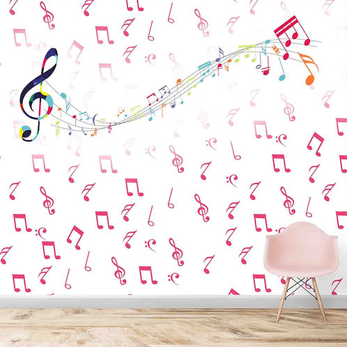 Colourful musical notes, wallpaper theme for kids room