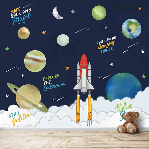 Space theme kids room wallpaper