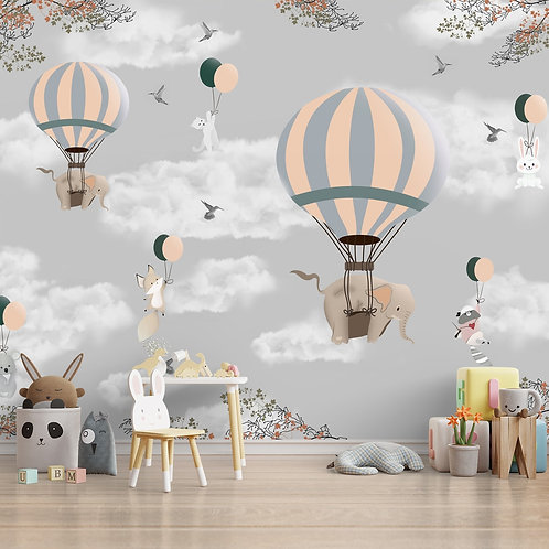 Adorable Elephants and Hot Air Balloons Wallpaper for Kids Room