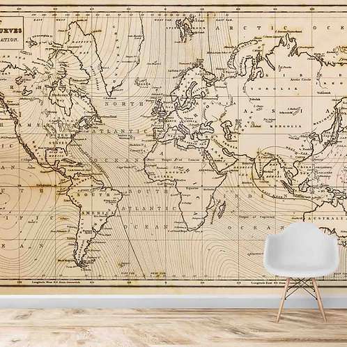 Vintage Look World Map for Walls