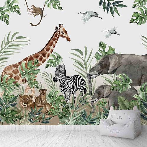 Jungle Theme kids room wallpaper, Giraffe, elephant, lioness,cub, zebra